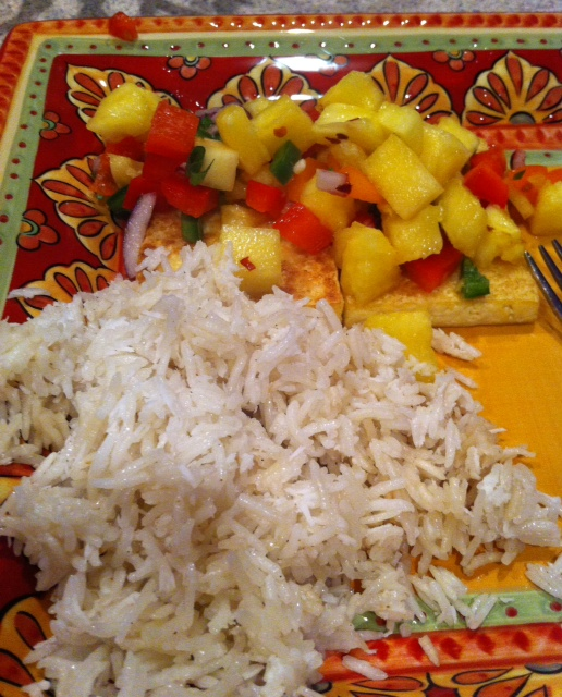 ' Grilled Tofu with Pineapple Salsa and Coconut Rice . The salsa ...